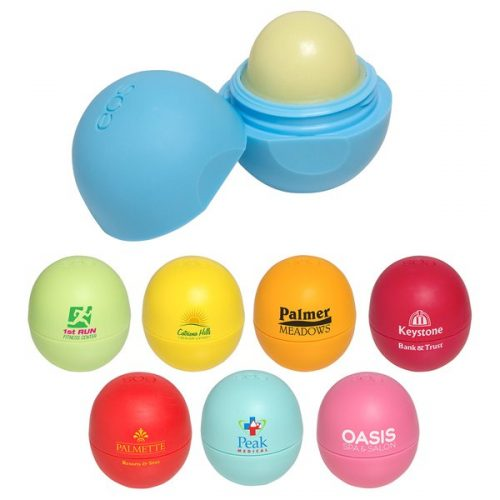 custom branded EOS lip balm - logo lip balm for your event - students- college marketing