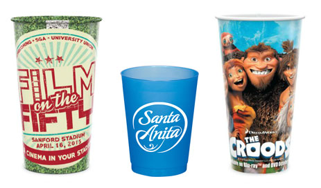 Stadium cups for college and sporting events - custom art - logo - student and sports marketing - career fairs etc