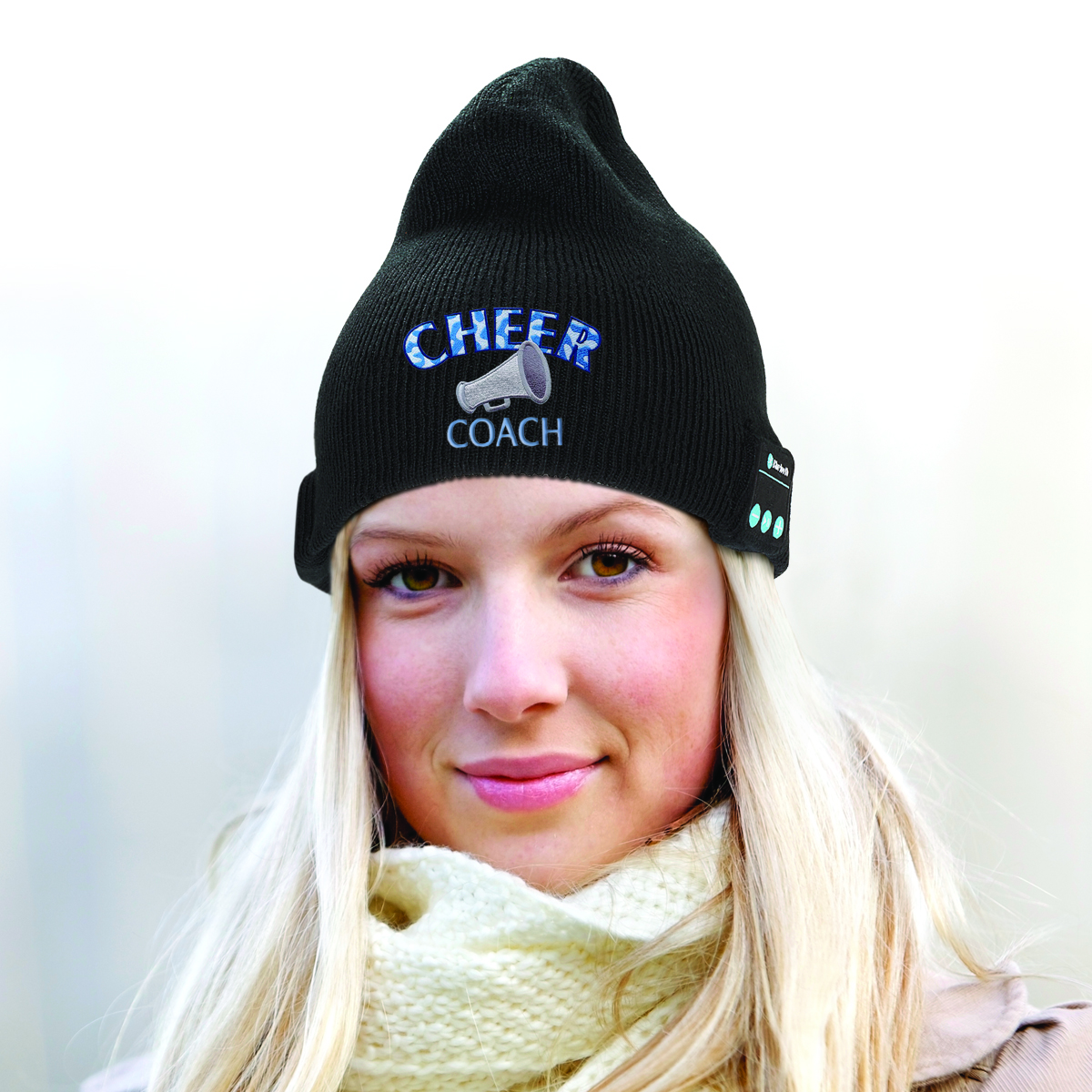 Embroidered and branded bluetooth beanie for winter, races, safety, handsfree promotions