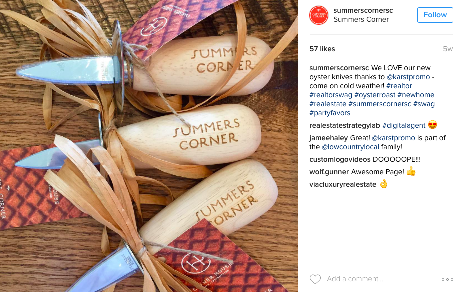 @summerscorner real estate marketing broker event custom oyster knives branded